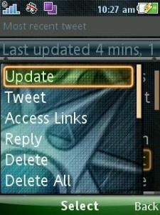 TinyTwitter - Menu