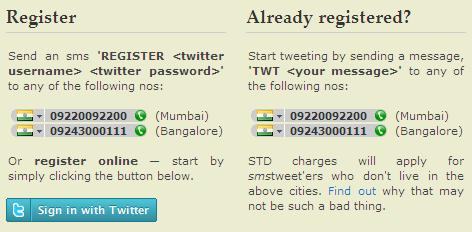 How to register for SMSTweet.in